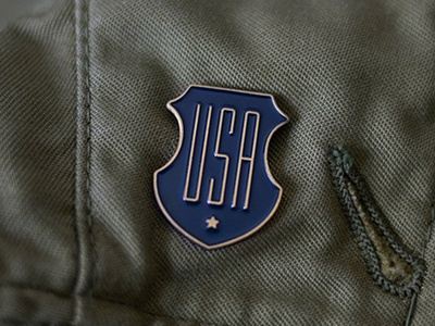 USA Enamel Pin typography star badge illustration shield pin enamel usa
