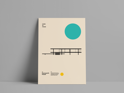 Farnsworth House Poster modernism architecture illustrator vector design illustration typography bauhaus minimal poster