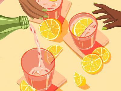 Lemons digitalart foodie travel restaurant editorial illustration food menu hospitality design procreate illustration