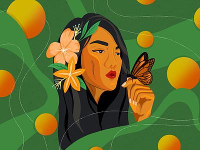 Girl at Peace in Nature illustrator digital illustration green girl illustration nature illustration nature