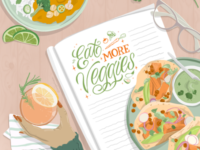 Eat More Veggies design calligraphy calligraphy and lettering artist sustainability hands vegetable food illustration lettering