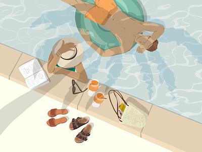 Tropical Vacation Illustration couple procreate digital illustration digitalart illustration art illustrator editorial art products design man tropical woman illustration