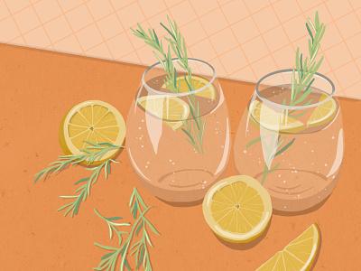 Gin and Tonic Illustration illustrator freelance illustrator drink food alcohol gin illustration
