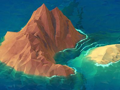 Island 3d isometric polygons island ocean