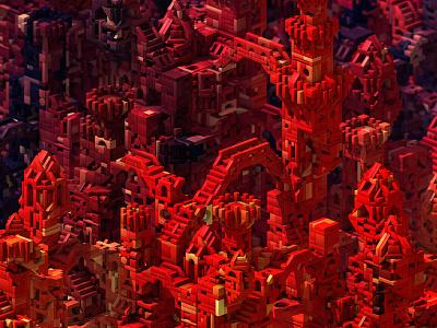 Blocks 3d isometric blocks castle