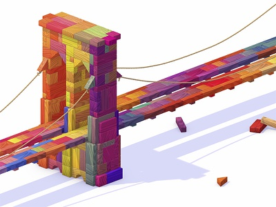 Brooklyn Bridge 3d isometric blocks new york brooklyn bridge