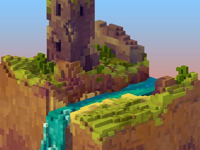 Ruins isometric 3d voxels pixel ruins castle landscape