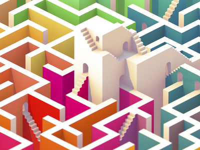 Labyrinth multicolored towers stairs walls isometric 3d labyrinth maze