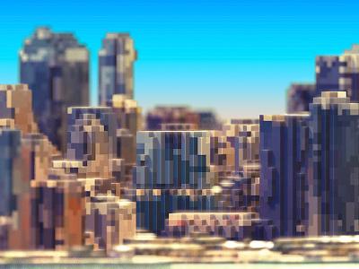 Skyline buildings new york city voxel 3d skyline