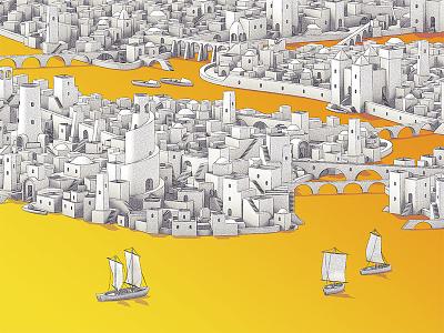 Ancient York skyline stairs arabian boats city buildings map yellow isometric new york city new york