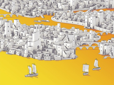 Ancient York skyline stairs arabian boats city buildings map yellow isometric new york city new york