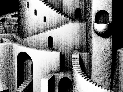 Citadel isometric staircases stairs stronghold citadel black and white m.c. escher escher 3d maze tower castle