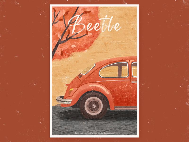 beetle vehicle orange retro road design illustration tree car beetle vintage