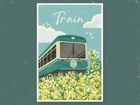 train retro birds sky outdoor grass flowers train vintage clouds illustration