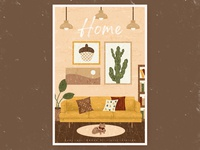 home sweet home bookcase decorations lights plants paintings cat sofa home retro vintage illustration