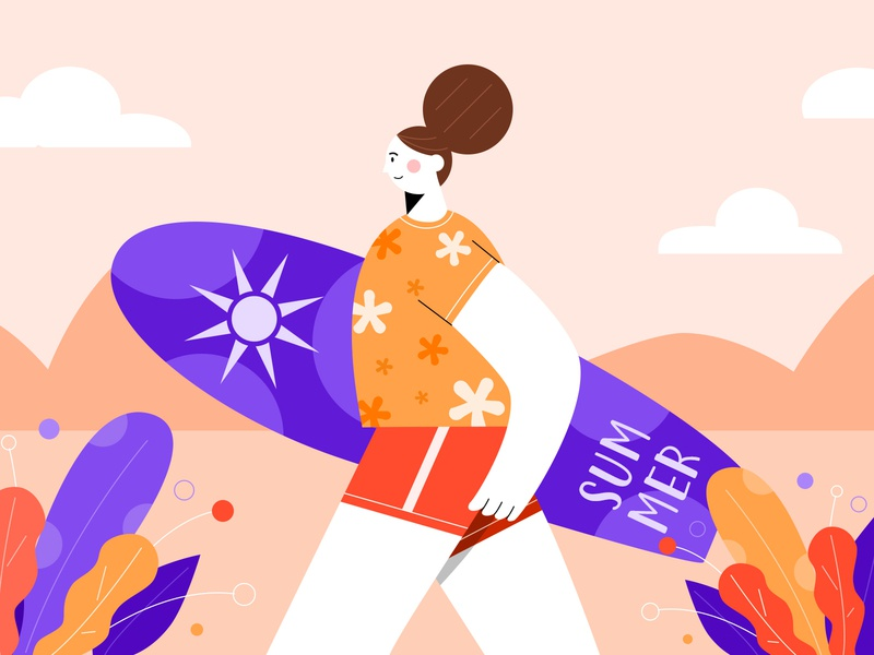Enjoy the summer wave design illustration surf beach summer
