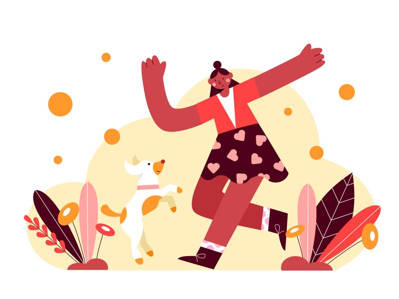Dancing with my dog dance pet dog design illustration