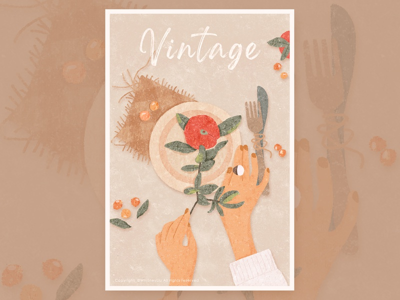 vintage vintage style blanket knife fork plate design illustration food hands fruits vintage