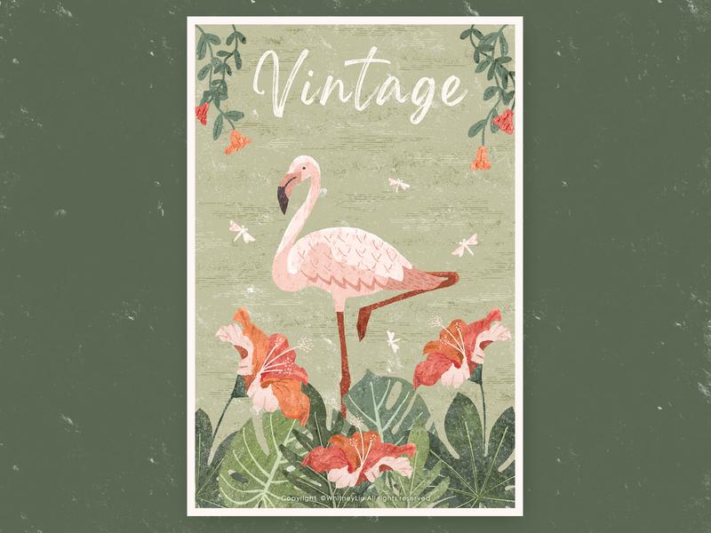 Vintage2 retro green plants monstera deliciosa flowers flamingo vintage design illustration