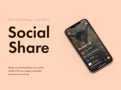 Social Share — Daily UI #010 challenge dailyui music player music friends list share button social share friends account ux app ui app design app ui minimal design