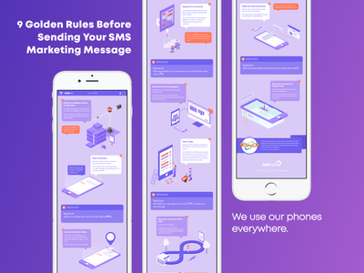9 SMS Golden Rules Infographic text message 9 sms marketing phone red purple design isometric mobile infographic sms