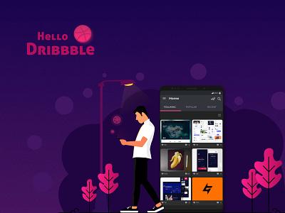 Hello Dribbble mode night mobile chennai hello dribble hello design web ui illustration