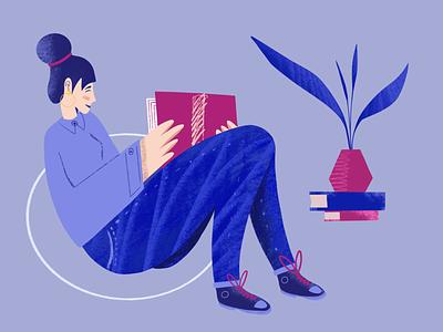 Reading Woman reading books plants plant reading app book art book app reading illustration