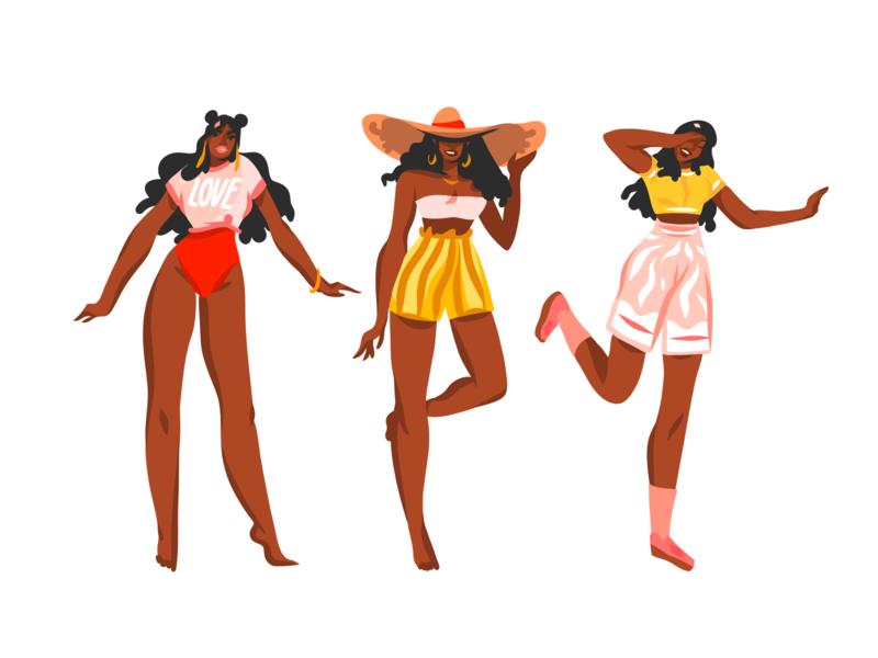African american girls 1 characters people illustration flat digital art african woman illustrations ipad pro adobe draw digital people girl abstract art illustration cartoon