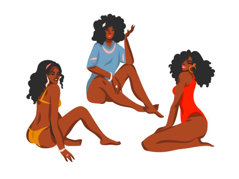 African american girls 2 vector art flat digital art graphic people character african american african woman woman illustration female girls beach ipad pro illustrations adobe draw digital people art abstract illustration cartoon