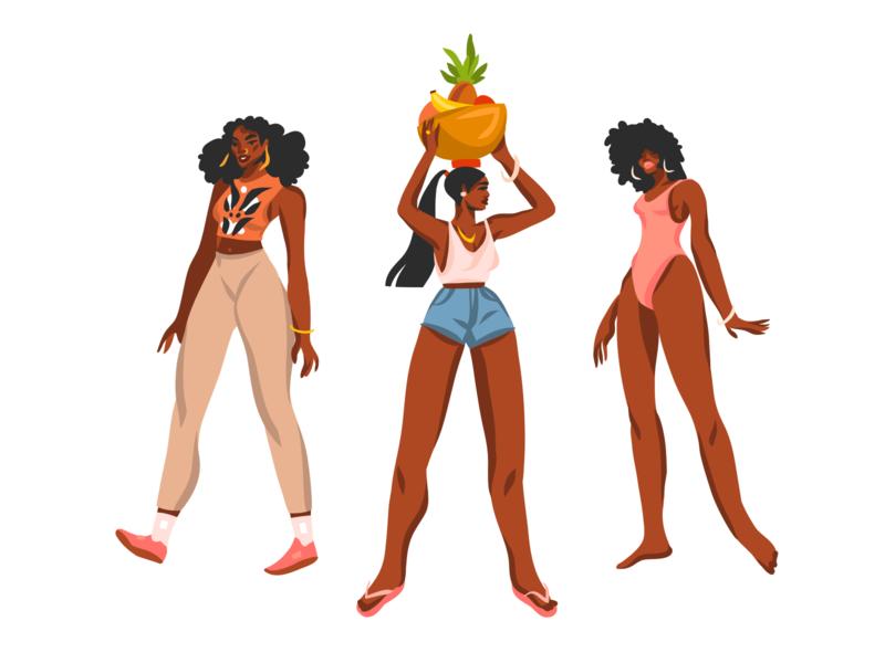 African american girls 3 digital art flat girl character black lives matter african american people illustration abstract illustrations ipad pro adobe draw summer digital design vector illustration cartoon