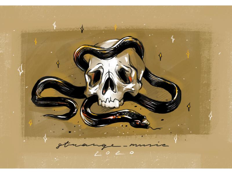 Strange music on youtube youtube channel youtube banner youtube music player music artwork music album musician phonk music graphic art snake skull skull art procreate ipad pro design cartoon abstract art illustration
