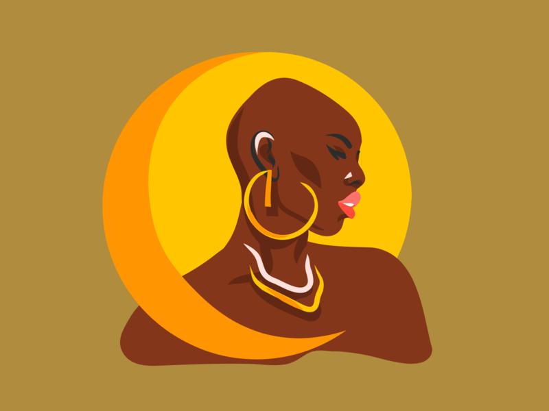 Moon eclipse woman portrait vector illustration digital art golden moonlight moon portrait african woman art digital abstract ipad pro adobe draw vector girl people design illustration cartoon