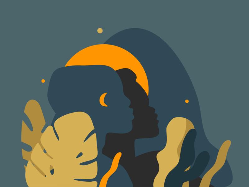 Night shadows collage art vector art portraits tropical leaves african american moonlight moon silhouette vector illustrations digital ipad pro adobe draw art abstract people illustration cartoon