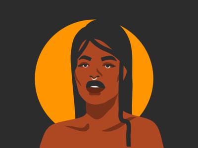 Moon girl character design vector portrait vector art moon african american woman character woman portrait woman illustrations summer people ipad pro adobe draw digital girl vector cartoon illustration