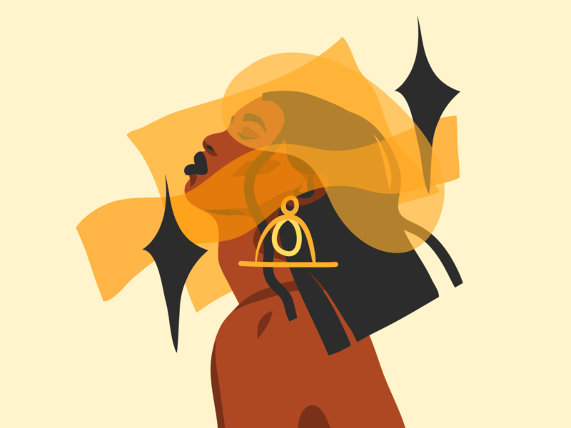 Stardust character design flat collages portrait illustration digital art portrait woman african american stardust star art girl abstract ipad pro adobe draw illustrations vector people illustration cartoon