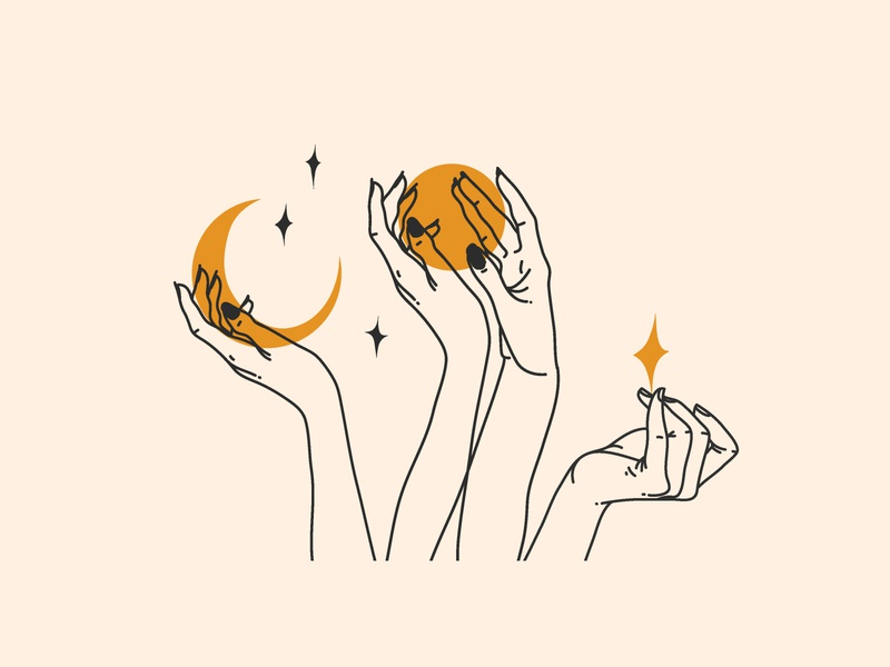 Stars hands moon magic stars simple illustration simple design simple logo simple line art line branding illustrations ipad pro adobe draw vector people abstract art illustration cartoon