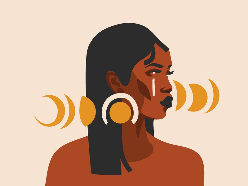 Moon phases woman character woman portrait simple design simple illustration simple logo portraits vector art african american african woman moon branding adobe draw ipad pro vector girl people art abstract illustration cartoon