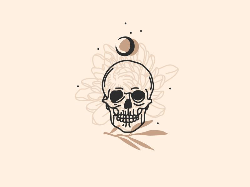 Skull symbolism flower logo logo design outline line logo line art moon branding ipad pro logo adobe draw digital vector abstract art illustration cartoon skull art skull logo skull