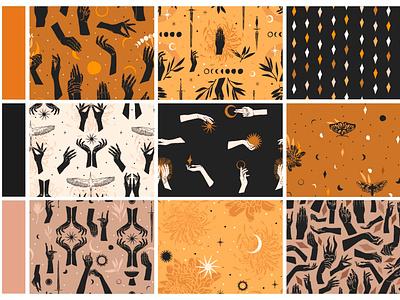 LUNA seamless patterns celestial symbols mystic magic pattern design seamless pattern line art outline logo sacred moon logo branding ipad pro adobe draw design vector abstract art illustration cartoon