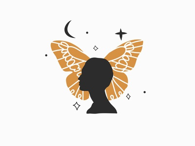 Moon butterfly moon logo stars celestial simple logo vector art line logo woman silhouette butterfly branding graphic design logo design adobe draw people vector abstract art cartoon illustration