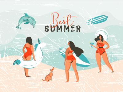 Best Summer surfing unicorn dog sea ocean dolphins swimming people illustration girls beach summer