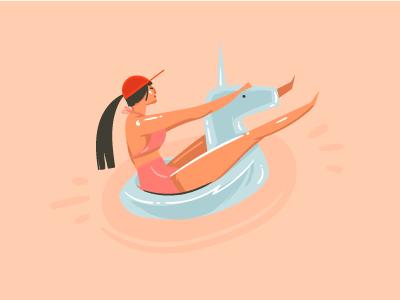Swimming Girl cartoon illustration character sea ocean ring float buoy girl swimming unicorn