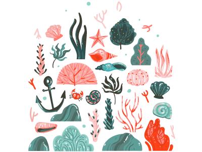 Seaweed mermaid starfish undersea illustration cartoon crab shell underwater sea ocean seaweed