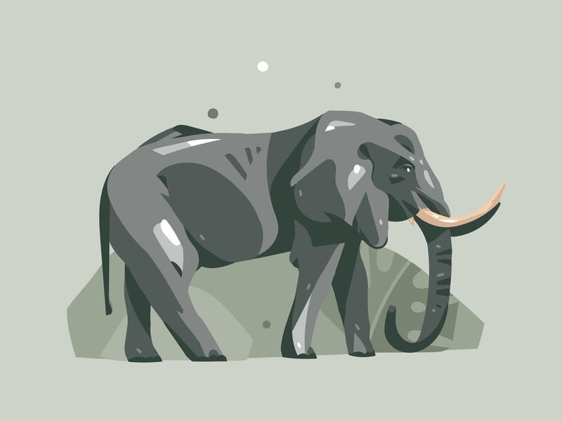 Elephant digital digital art graphic simple safari animal art animal vector design summer abstract art illustration cartoon