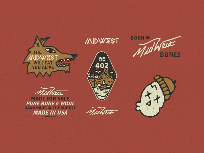 The Great Midwest omaha nebraska badgedesign badge vintage handmadetype type typogaphy tag skull midwest type midwestern midwest art illustration design brand identity branding brand