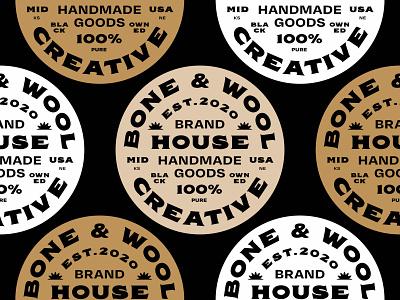 Bone & Wool Badge midwest brand identity type branding illustration design