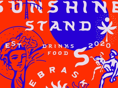Sunshine Stand handmadetype logo art brand identity illustration hand drawn