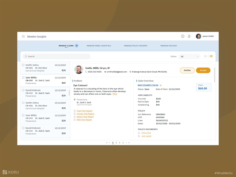 Insurance Management Portal insurance enterprise uxdesign ui  ux enterprise ux ux