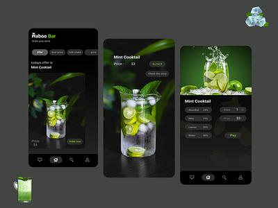 bar app cooktail juice online application design applicaiton app design bar app bar ui ux