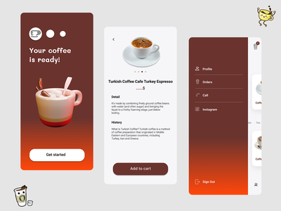 Cafe online menu app ui ux mobile app design online menu menu coffee shop coffeeshop coffee cafe